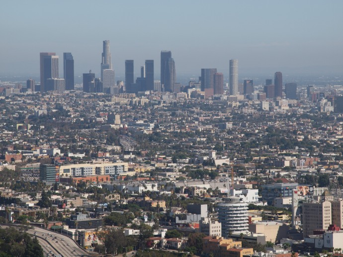 Looking towards the downtown Los Angeles skyline from a scenic overlook off Mulholland Drive.  This photo was taken during a visit I made to the L.A. area in September 2012.
