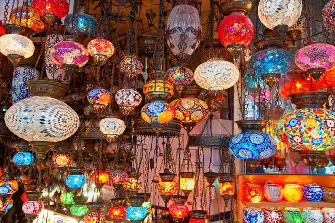 Stock photo of lamps in the Grand Bazaar in Istanbul.