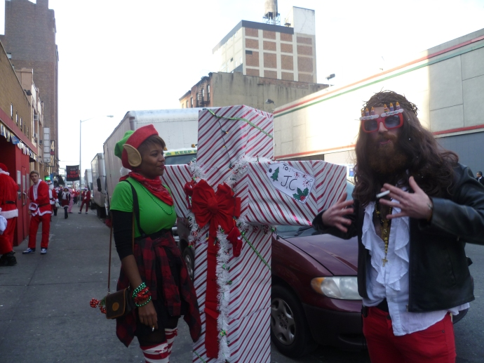 One of my favourite characters from last year's Santacon, the birthday boy himself, was back!  Apparently, although not mentioned in any of the Gospels, Jesus was a smoker.