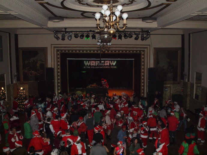 The main dance floor in Warsaw during the Santacon afterparty.