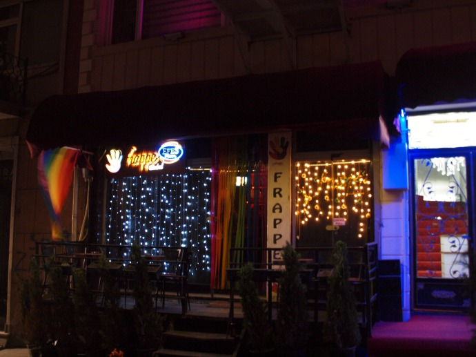 This is Frappe, where I sang in the presence of a drag queen. The rainbow flag is a dead giveaway regarding the clientele to which this bar caters.