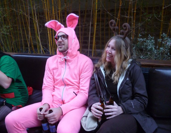 "Hanging out on the club's outdoor terrace: At left is Ralphie from the classic holiday film, ""A Christmas Story!"" (Some of the more ignorant attendees thought he was supposed to be the Easter Bunny.)"