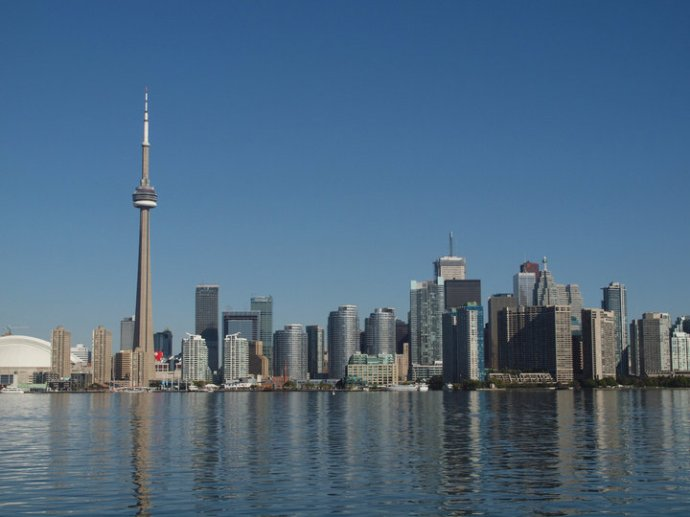 The Toronto skyline, viewed from a ferry on Lake Ontario the last time I was in that city, in September 2010.