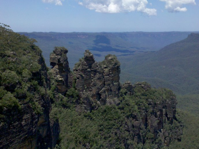 This rock formation in Australia's Blue Mountains is called the Three Sisters.
