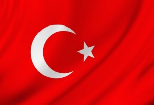 Stock photo of the Turkish flag.