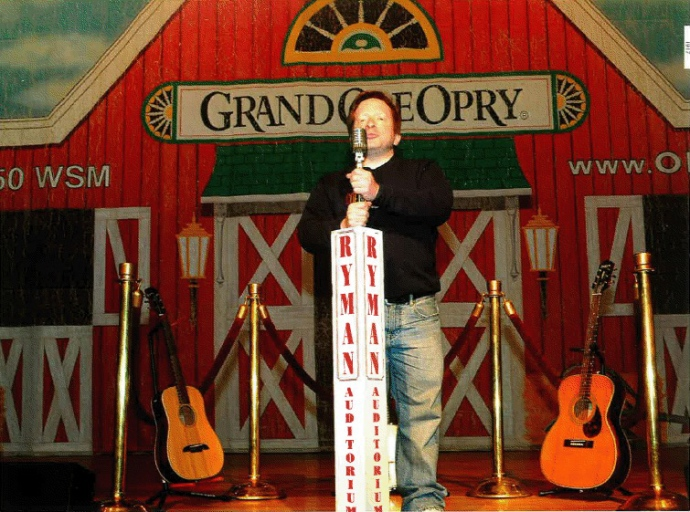 Me grabbing the mic on the Ryman Auditorium stage.