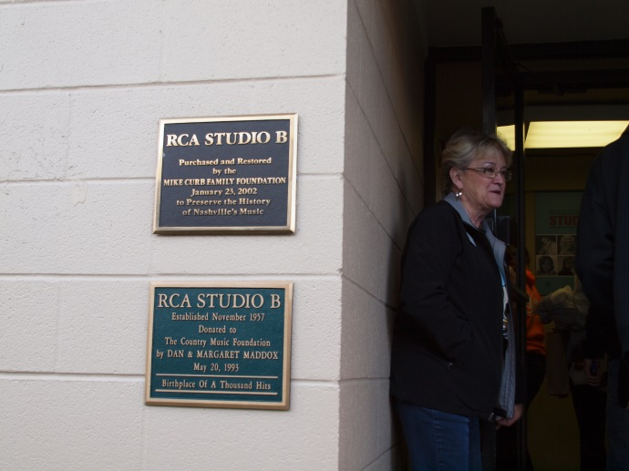 "These plaques identify Studio B, the ""Birthplace Of A Thousand Hits."""