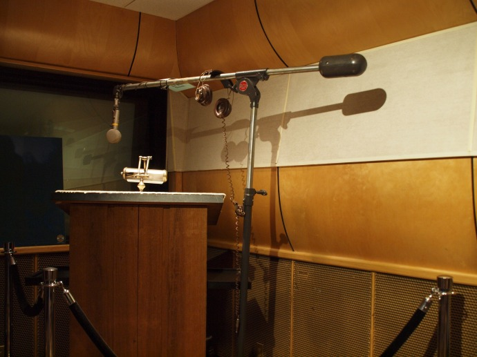 An original microphone in Studio B.