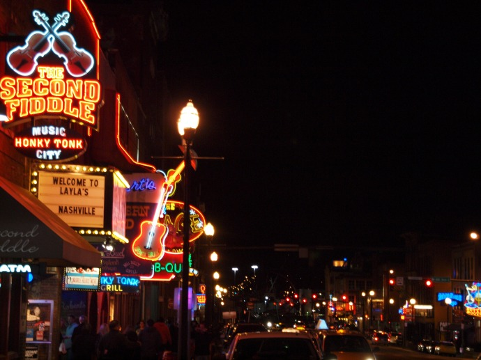 Nashville neon: looking down Broadway at night.