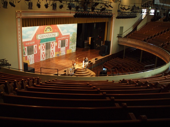 The view from the balcony seats inside Ryman Auditorium