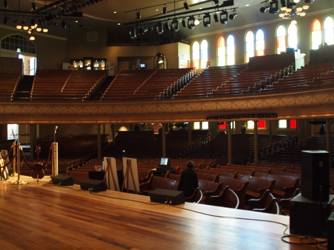 On the famous stage in Ryman Auditorium.