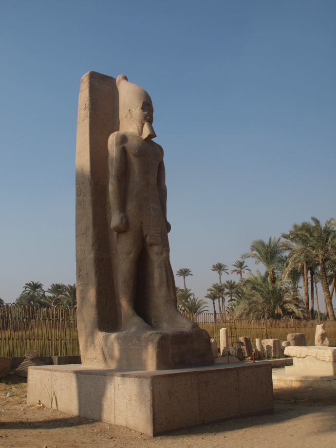 The standing statue of Ramses II, outside the museum in Memphis.