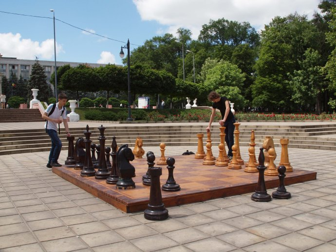 This chess set with life-sized pieces sits in front of the cathedral in Chișinău, Moldova.