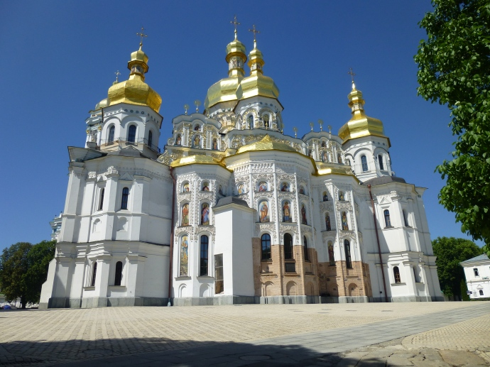 The Cathedral of the Dormition, on the grounds of the Monastery of the Caves (Pechersk Lavra) in Kiev, Ukraine. Its cupolas are covered with actual gold.