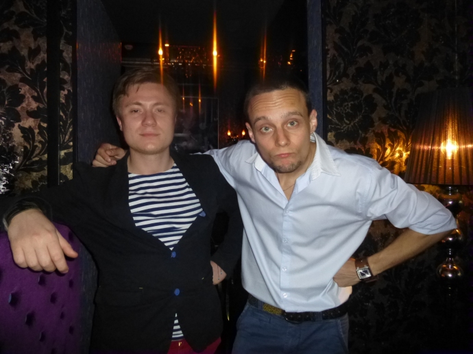 L to R: Pasha and Ruslan, the technician and karaoke host in Fever in St. Petersburg.
