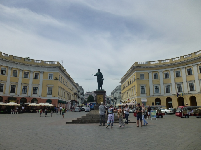 The statue of the Duc de Richelieu, the first mayor of Odessa, near the top of the Potemkin Stairs.