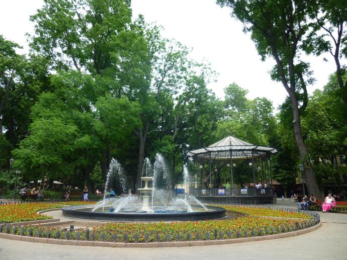 A fountain and gazebo in the City Garden.