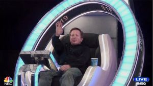 "Me sitting in the money chair on ""Million Second Quiz"" last Sunday."