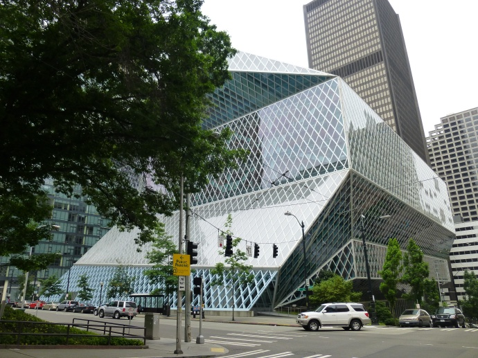 The Seattle Public Library's Central Library was designed by a team that included the Dutch architect Rem Koolhas. In 2007, this building was voted #108 on the American Institute of Architects' list of Americans' 150 favorite structures in the United States. It opened to the public in 2004.