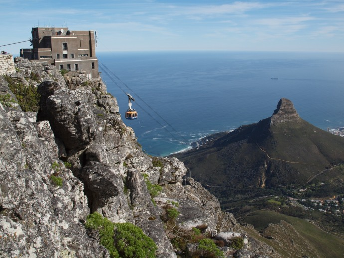 The view from the cable car that goes up to Table Mountain.