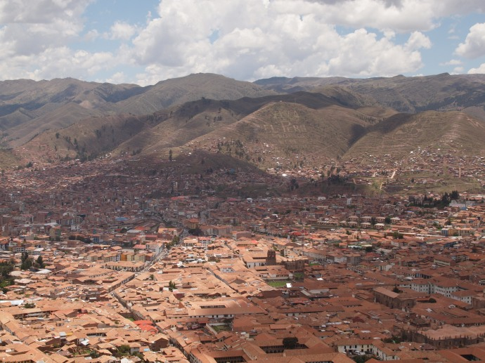 The view from a mirador (scenic lookout point) in Cusco, Peru.