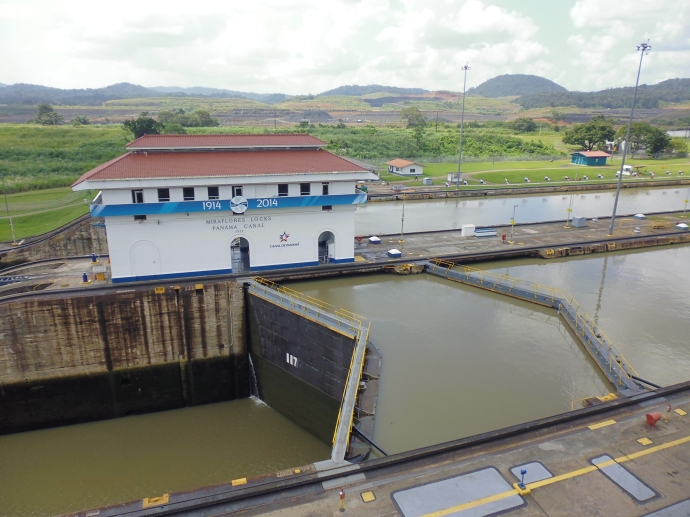 Looking down on Miraflores Locks from the observation deck at the visitor's center.