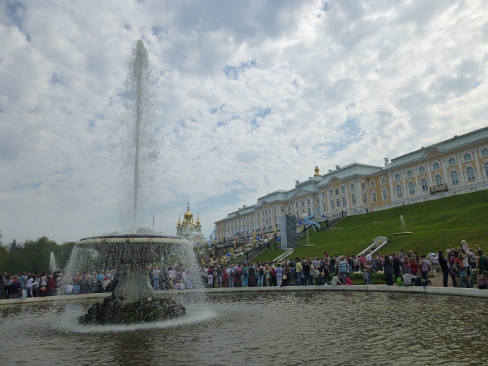 Peterhof Palace, built by the tsar Peter the Great, is known for its elaborate fountains.