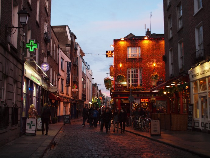 Walking towards Dublin's famed Temple Bar at dusk.