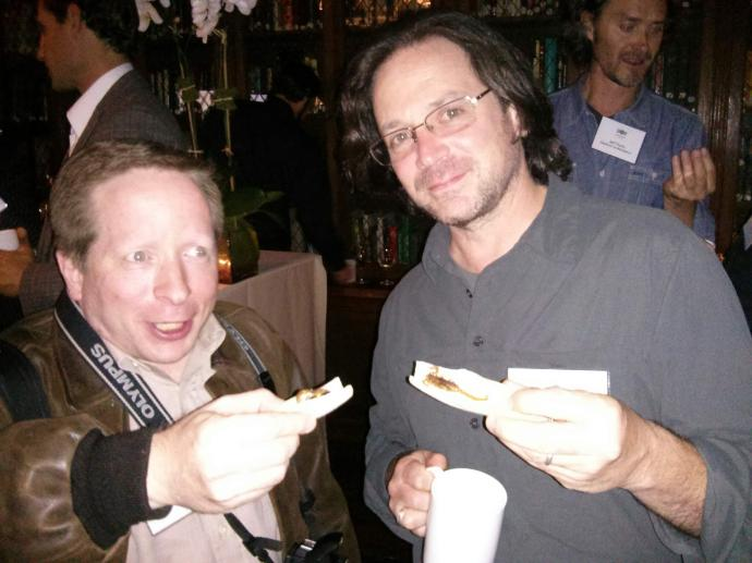 Here I am, with my friend Ethan, about to chow down on a scorpion at an event in the Explorer Club's worldwide headquarters in New York City in October 2013.