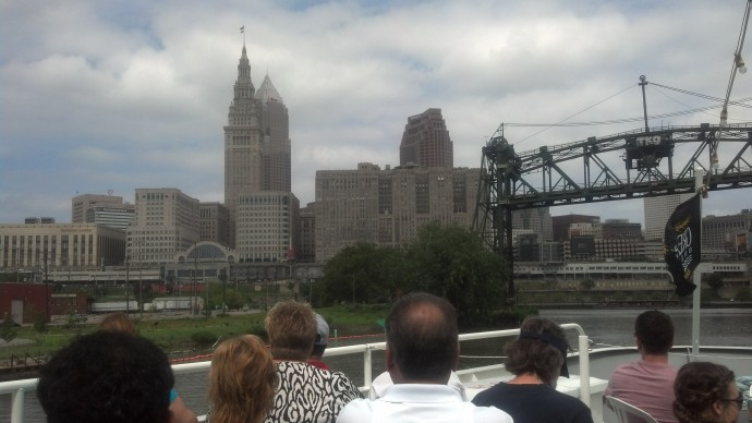Looking out from the Goodtime III while cruising down the Cuyahoga River.