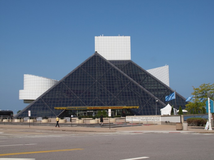 The exterior of the Rock & Roll Hall of Fame & Museum.