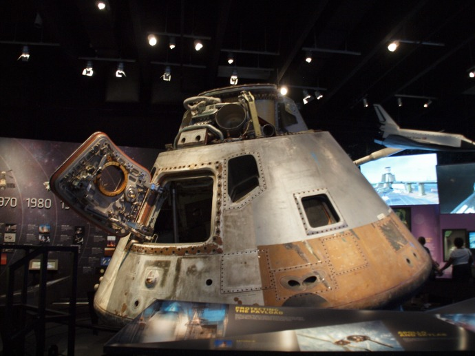 The Skylab 3 command module in the Great Lakes Science Center.