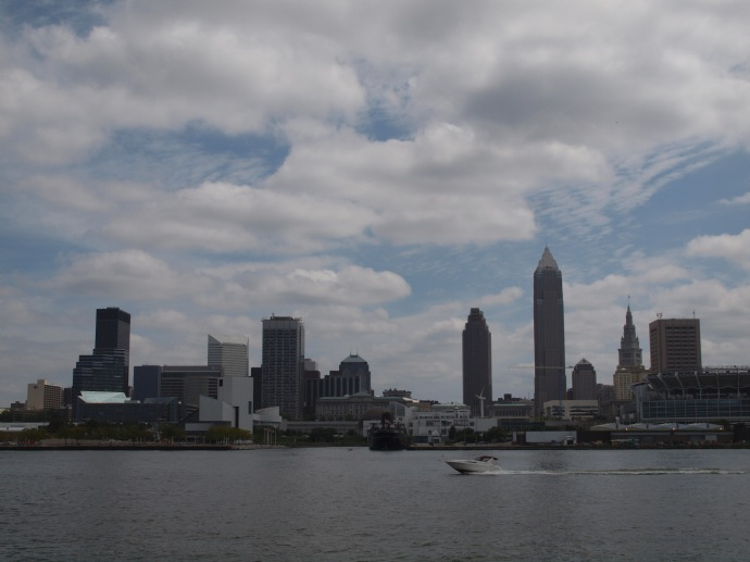 The downtown Cleveland skyline, as seen from Lake Erie.