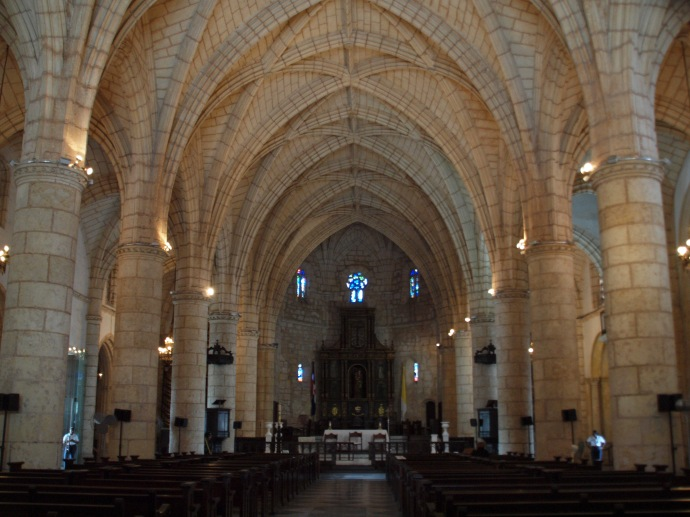 The interior of the Cathedral of the Americas features a gorgeous barrel-vaulted ceiling.