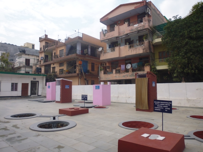 The outside portion of the Sulabh International Museum of Toilets.