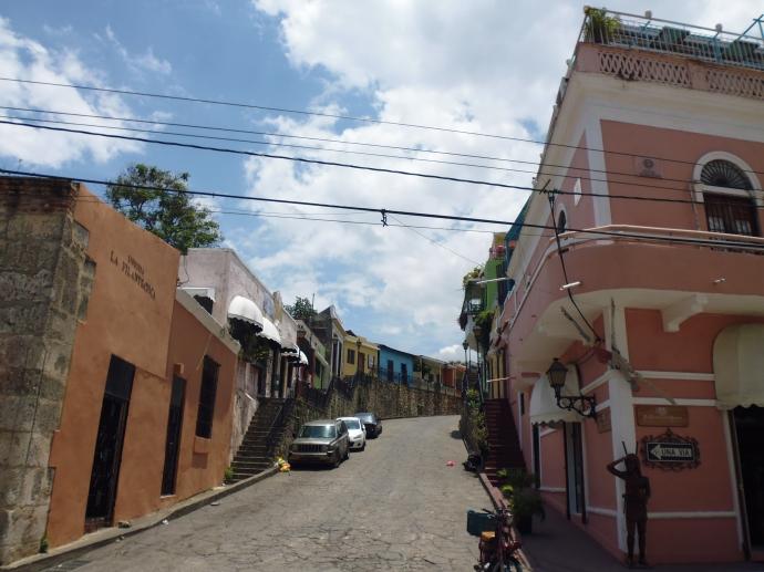 A street corner in the Zona Colonial in Santo Domingo.
