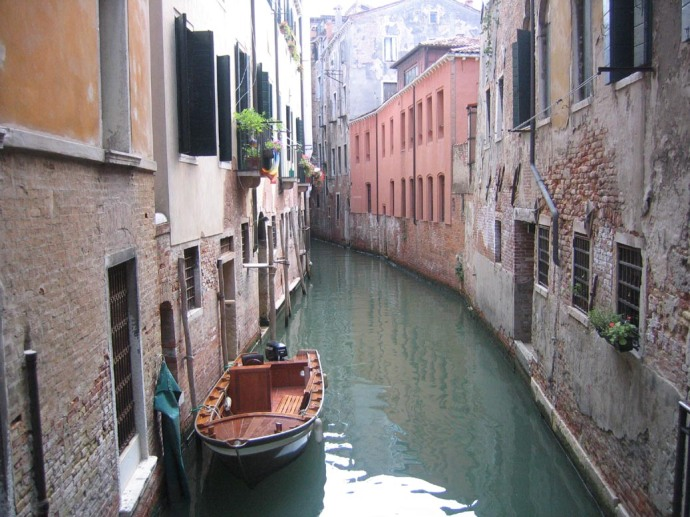 An aquatic alleyway in Venice.