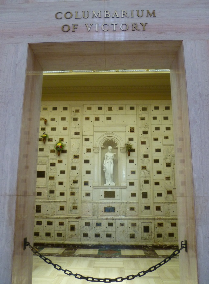 Among the ashes interred in the Columbarium of Victory in the Freedom Mausoleum at Forest Lawn are those of actress-singer Dorothy Dandridge.