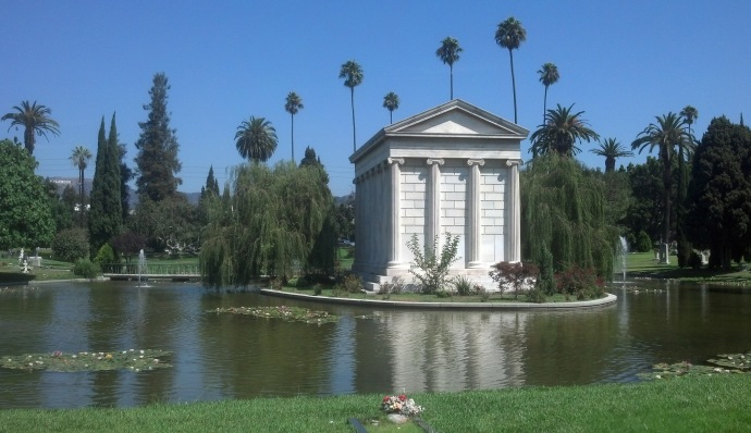 A view of the lake and the Douras mausoleum at Hollywood Forever. It's hard to believe you're in a cemetery!