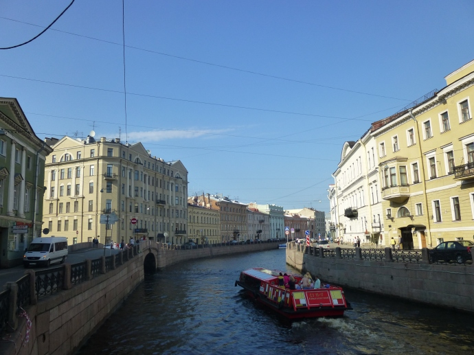 Cruising along a canal in St. Petersburg.