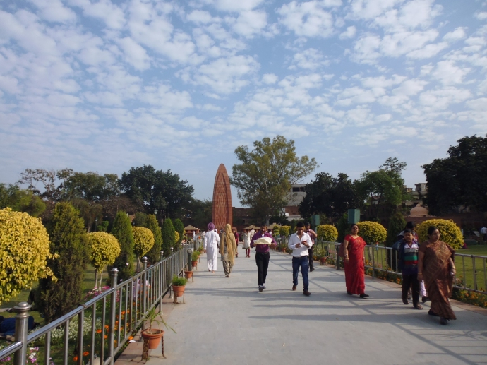 Walking through the gardens at Jallianwala Bagh