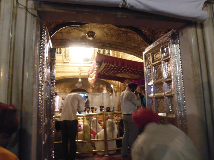 The inner sancutm of the Hari Mandir. Notice the silver doors.