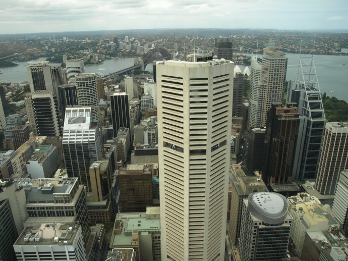 Looking down on the Central Business District, and the Harbour beyond, from the top of Sydney Tower.