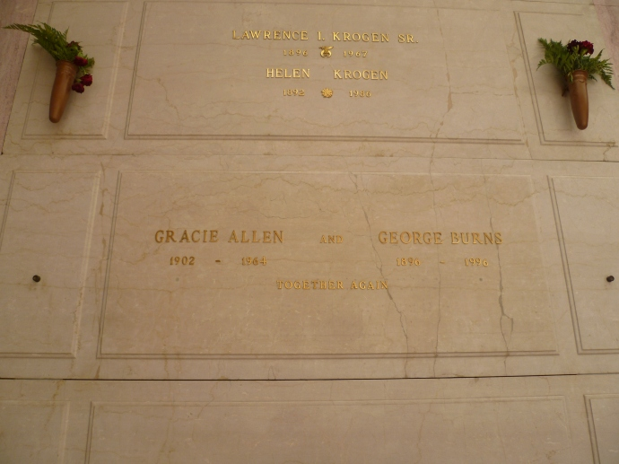 George Burns and the love of his love, Gracie Allen, are together for all time.