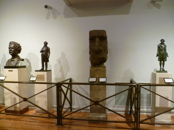 The head of a moai from Easter Island is among the treasures on display in the on-site museum.