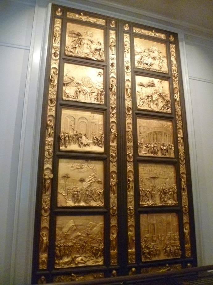 "Also in the Forest Lawn Museum is a replica of the ""Gates of Paradise,"" the exquisite gilded bronze doors designed by Lorenzo Ghiberti that adorn the Baptistery in Florence."