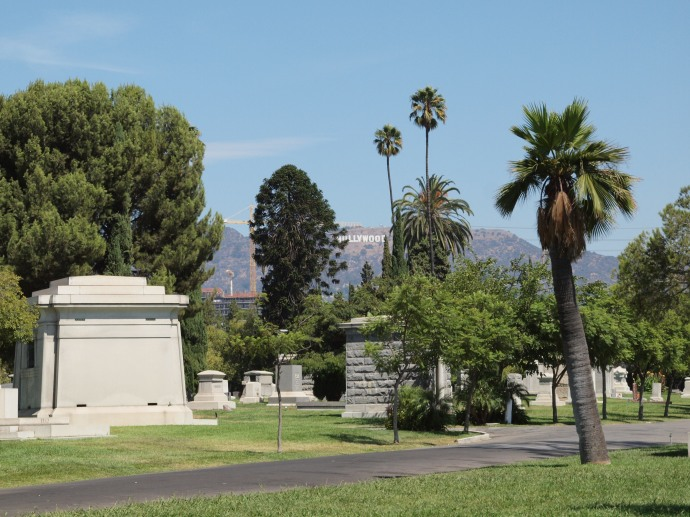 "You can see the famed ""Hollywood"" sign from the Hollywood Forever cemetery."