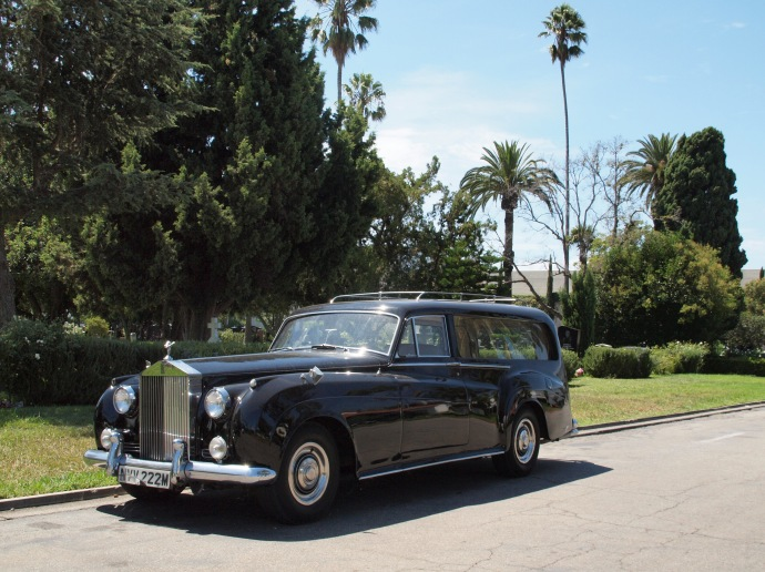 Seen at Hollywood Forever: this cute Rolls-Royce hearse.