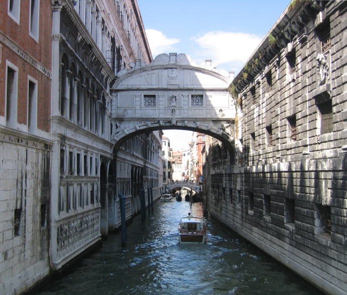 Not all of the bridges that span Venice's canals are at ground level. The Bridge of Sighs connects the Doge's Palace to the old prison.