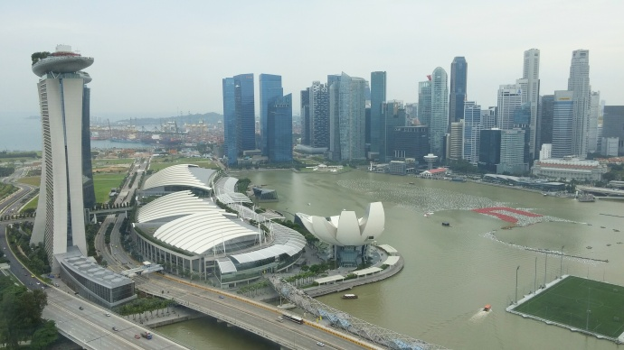 Looking down on Singapore from the top of the Singapore Flyer, a 541-foot-high observation wheel that I rode just hours before making my Singaporean karaoke debut.